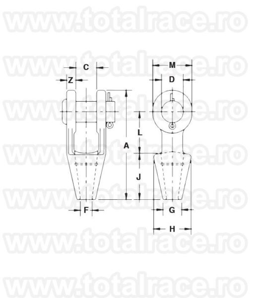 Papuc cablu G-416 Open Spelter Socket